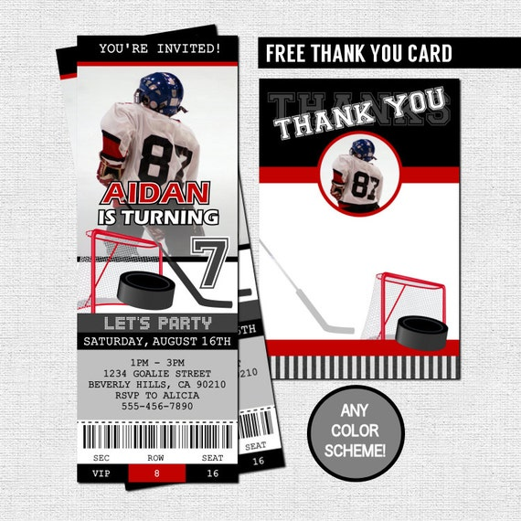 HOCKEY TICKET INVITATIONS + Free Thank You Card Birthday Party (print ...