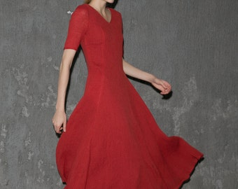 Red Fitted Dress - Floaty Feminine Elegant Fit & Flare V-neck Short Sleeved Womens' Linen Dress C644