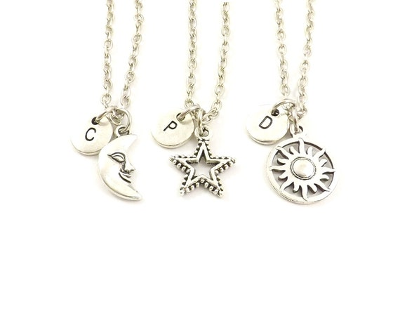 3 best friend necklaces sun moon star personalized by koolstuff2