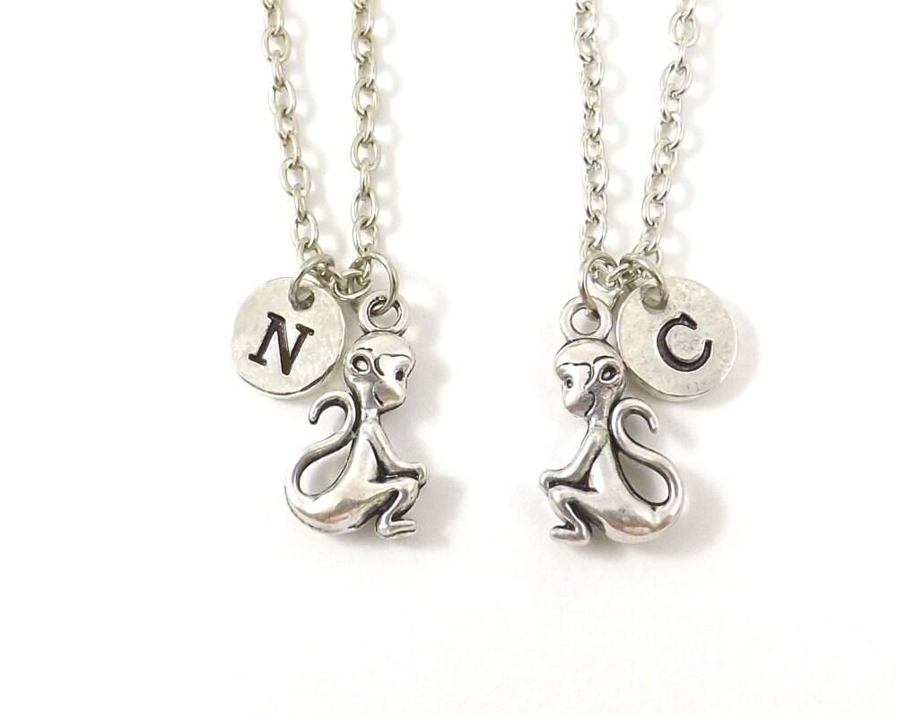 best friend necklaces monkey necklaces initial necklace