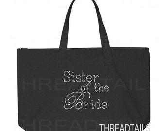 Rhinestone Sister of the Bride canvas tote. Large black, zipper top bag. Bridal totes, gifts for Brides family, destination wedding.