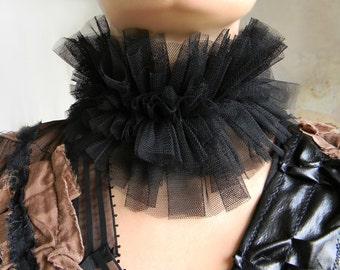 Black Ruffle High Collar, Queen Collar, Neck Ruff Collar Choker, Renaissance Accessories, Elizabethan Collar, Layered Choker, Vampire Choker
