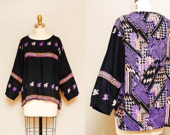 Vintage Batik Indian Rayon Tunic Blouse / Boho Tribal Print Top / One Size Fits Most