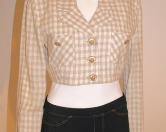 80's Petite Sophisticate Linen Cropped Jacket, Vintage Jacket,