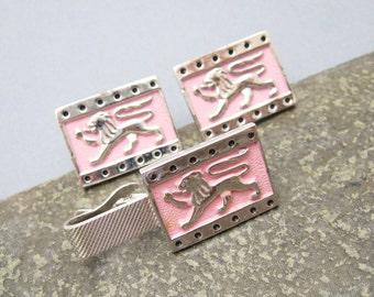 Lion Cufflinks Tie Clip Set Pink Enamel Vintage Jewelry H747