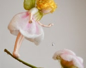 Flower Fairy  Mobile Waldorf Inspired Needle Felted : Rose fairy with crystal drop