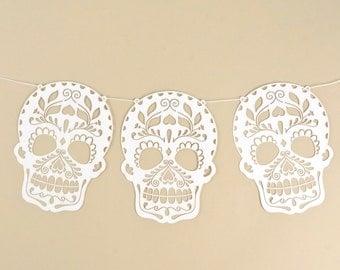 Sugar Skull Garland, Set of Six Sugar Skulls