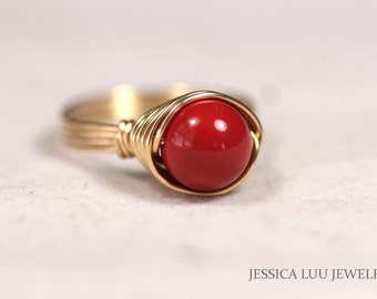 Gold Red Coral Ring Wire Wrapped Jewelry Handmade Gold Ring Gold Jewelry Red Coral Jewelry Swarovski Pearl Ring Red Ring Solitaire Ring