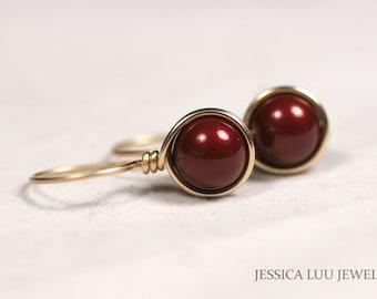 Gold Dark Red Earrings Gold Earrings Wire Wrapped Jewelry Handmade Swarovski Pearl Earrings Rose Gold Pearl Drop Earrings