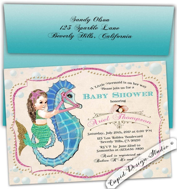 mermaid baby shower invitation under the sea invite undersea party