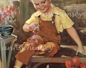 "Child's Room Art, RESTORED Antique Art, ""Pretty Bubbles"", Boy Plays With Cat, Boy's Room Art, Affordable Wall Art #272"