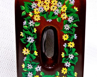 Hand Painted Brown Vase With Multi-Colored Flowers, Housewarming Gifts