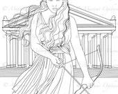 Artemis - digital stamp, colouring page, printable, instant download