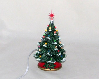 Small Ceramic Christmas Tree - 7 inches with base-hand made Pine tree with light kit