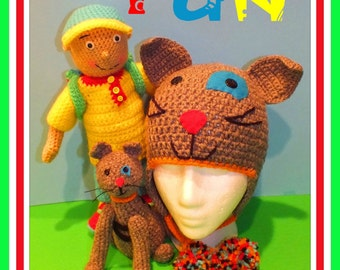 Caillou Inspired Crochet Doll, Cat & Hat Pattern