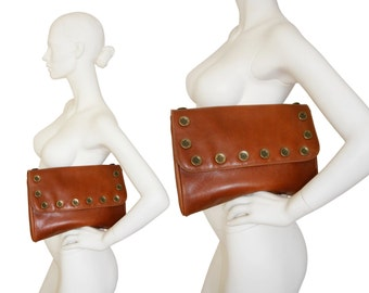MOSCHINO by Redwall 1980s Vintage Statement Clutch Bag Handbag Purse Brown Pebbled Leather