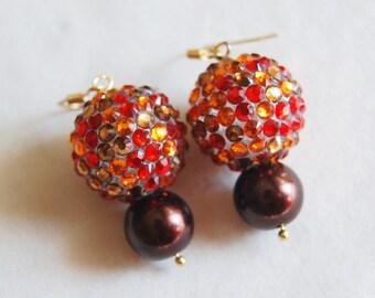 Red Brown Earrings , Rhinestone Earrings , Fall Earrings , Thanksgiving Earrings