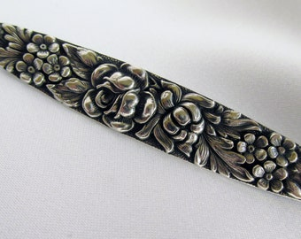 Stieff Sterling Floral Repousse Rose Chrysanthemum Forget Me Not Large 3 Inch Brooch Bar Pin