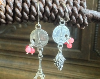 CAVIAR DREAMS French Souvenir Paris Eiffel Tower Coin Grapes Charm Gemstone Vintage Assemblage Dangle Earrings Etsy andersonhs