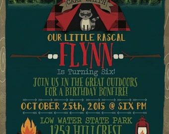 Great Outdoors/ Camping/ Woodland/ Bonfire Birthday Invitation, Digital, 5x7 JPEG