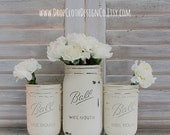 Annie Sloan Old White Chalk Painted Mason Jars - Wide Mouth