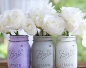 Lavender, Gray, White Painted Distressed Mason Jars - Vase, Centerpiece, Wedding, Showers, Home Decor