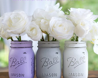 Lavender, Gray, White Painted Distressed Mason Jars - Vase, Centerpiece, Wedding, Showers, Home Decor