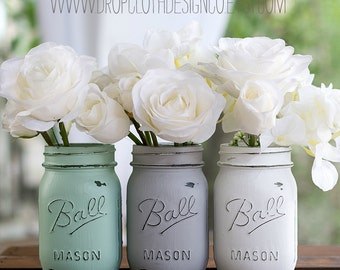 Painted Distressed Mason Jars - Mint Green, Gray, White - Vases, Centerpieces, Weddings, Showers, Special Events
