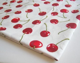 Juicy Red Cherry fabric, White fabric with Big red fresh fruit,  baby shower, summer fruit, women, Party, girl dress, kitchen curtain, CT406