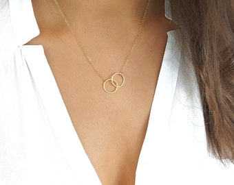Gold Eternity Necklace, Best Friend Necklace, Double Circle Necklace, Friendship Necklace, Gift For Mom, Sister, Best Friend