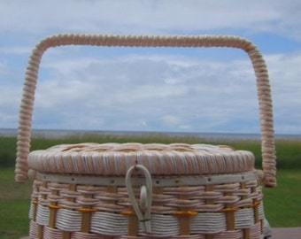 Granny's SEWING  Basket Handled White PINK wicker Round Tub shaped