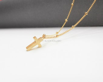 Cross Necklace with Dew Drop Chain, Cross Necklace, Satin Brushed Finish
