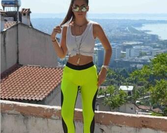 Black Neon Yellow Leggings, Women Leggings, Yoga Pants, Sport Pants, Stretch Leggings, Spandex Leggings, Workout Leggings, Yoga Leggings