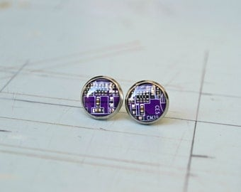 Geekery Earrings - Gothic - Purple Earrings - Electronic - Computer Jewelry