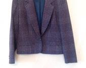 vintage 1980s Pendelton jacket blue plaid vintage blazer medium 80s plaid blazer plaid jacket wool jacket fall clothing