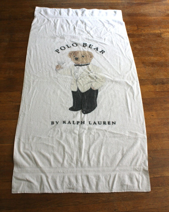 Rare polo bear plage serviette ralph lauren polo ann es 1990 - Serviette ralph lauren ...