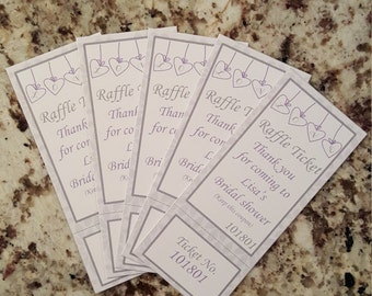 Perforated Hearts Bridal Shower Raffle Tickets Purple and Gray