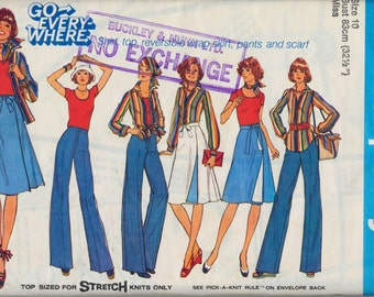 Vintage unused 1978 sewing pattern - Ladies Shirt, Top, Reversible wrap skirt, Wide legged flared Pants and Scarf