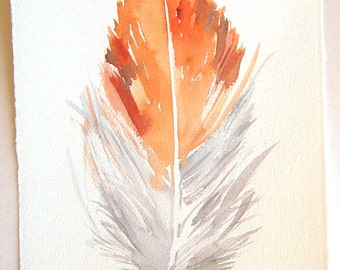 Feather painting original/ Gray tangerine feather illustration/ Small watercolors 7,5 by 11/ Unique handmade gifts/ For her/ For Him OOAK