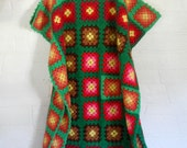 Granny Square Blanket Granny Square Afghan Blanket Green Blanket Boho Blanket Hippie Blanket Crochet Afghan 70s Blanket Boho Bedding Decor