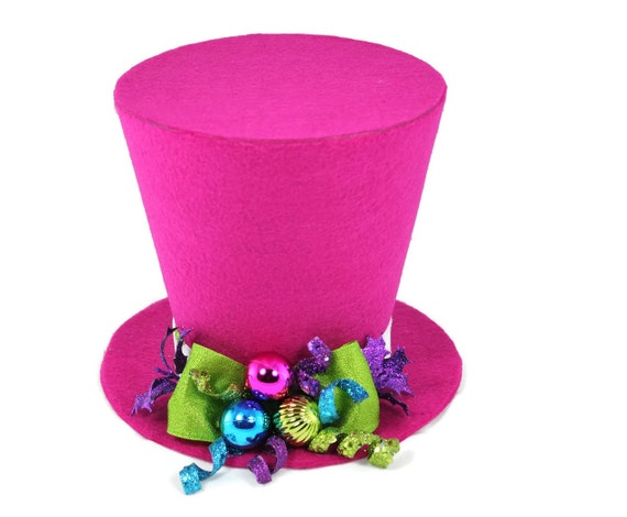 Bright Pink Top Hat Tree Topper