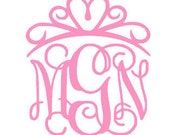 Custom TIARA/CROWN Monogram Decal - Personalized Monogram Sticker for Car, Cup or Laptop, etc!