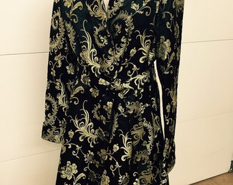 Black & Gold Chinese Brocade Coat