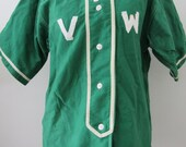 40s Green Baseball Shirt, S // Softball Uniform Shirt
