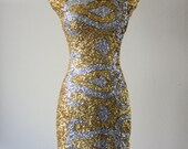 Vintage 1960s Imperial Exceptionally Stylish Sparkly Gold Dress