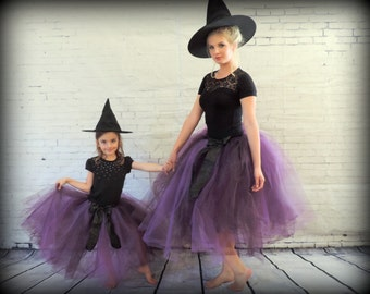 Mommie and me costume Halloween matching tutu set, teen and girls matching tutu, mom and daughter matching witch costumes adult tutu skirt