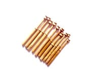 Antique set of 10 lace bobbins wood sewing thread collectible crafts embroidery