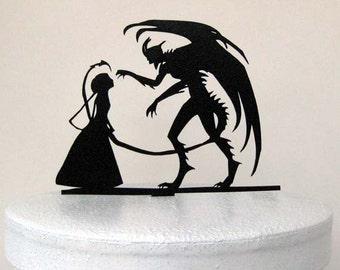 Wedding Cake Topper - Halloween Wedding Cake Topper, Devil Silhouette Wedding Cake Topper