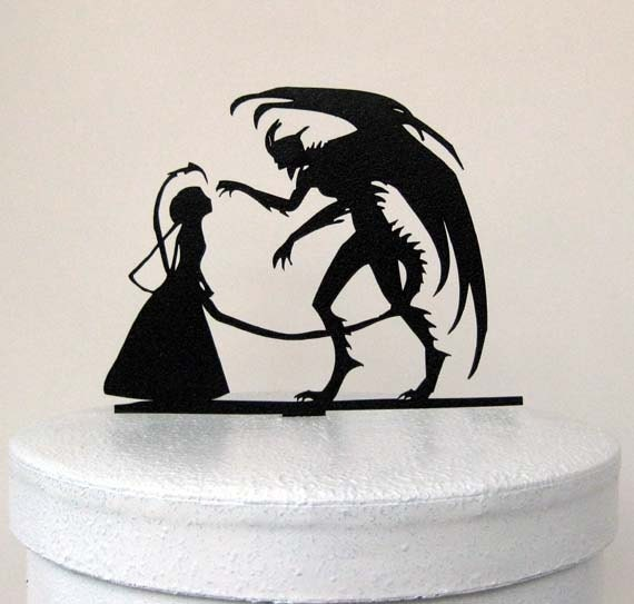 Wedding Cake Topper - Halloween Wedding Cake Topper, Devil Silhouette Wedding Cake Topper
