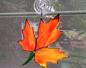 Fall Leaf Stained Glass Suncatcher - Autumn Suncatcher - Fall Decor - Autumn Decor - Thanksgiving Decor - Orange Glass - Maple Leaf